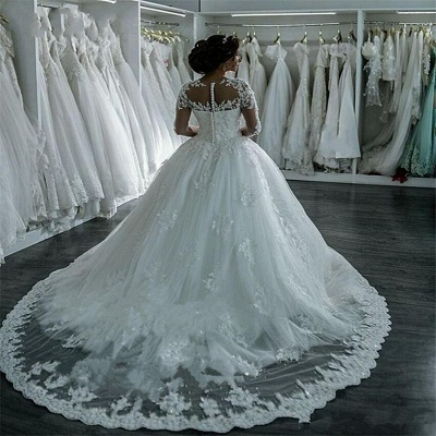 Beaded See Through Long Sleeve Ball Gown Wedding Dress Cheap_4