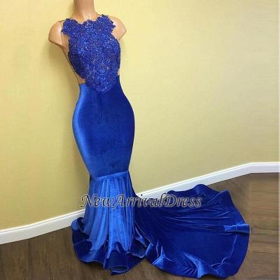 Mermaid Sleeveless Formal Dresses Long | Gorgeous Blue Lace Prom Dresses Cheap FB0014_1