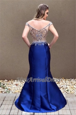 Sexy Off-the-Shoulder Crystal Zipper Blue Prom Dress_3