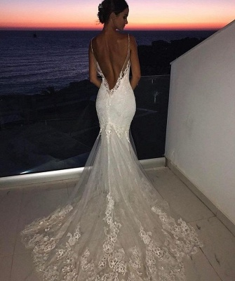 Backless Wedding Dresses Lace Mermaid Cheap |  Sexy Spaghetti Straps Bridal Gowns_3