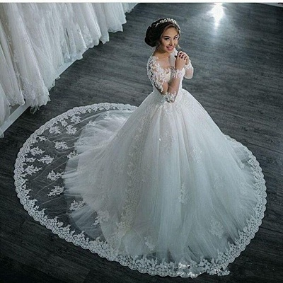 Beaded See Through Long Sleeve Ball Gown Wedding Dress Cheap_5