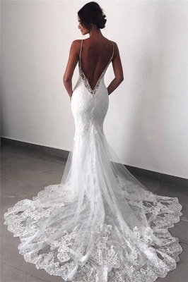 Backless Wedding Dresses Lace Mermaid Cheap |  Sexy Spaghetti Straps Bridal Gowns_1