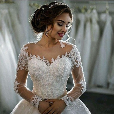 Beaded See Through Long Sleeve Ball Gown Wedding Dress Cheap_3