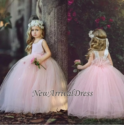 Ball-Gown Flower Cute Long Pink Girl Dresses_1