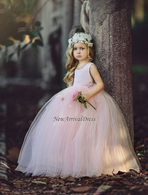 Ball-Gown Flower Cute Long Pink Girl Dresses_2