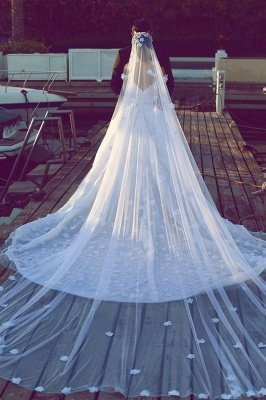 Luxurious Princess Ball Gown Wedding Dresses | Puffy Tulle Off The Shoulder Bridal Gowns with Appliques_4