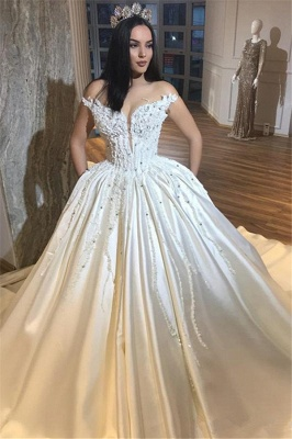 Luxury Off The Shoulder Royal Wedding Dresses Sexy | Beads Appliques Puffy Satin Wedding Dress_1