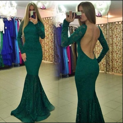 Modern Lace Backless Long Sleeve Mermaid Evening Gown_5