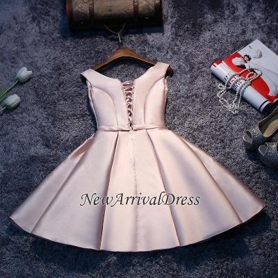 Short Sleeveless Lace-up Elegant Sexy Short Homecoming Dresses_4