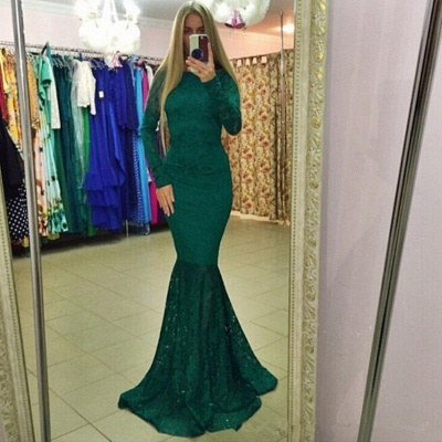 Modern Lace Backless Long Sleeve Mermaid Evening Gown_3