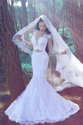 Sexy Mermaid Long Sleeve Wedding Dresses Cheap Crystal Lace Custom Made Bridal Gowns_1