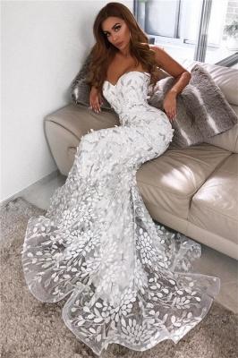Robes de mariée appliques en dos de feuille chérie | Sirène sexy robe de soirée en tulle pure 2020_1