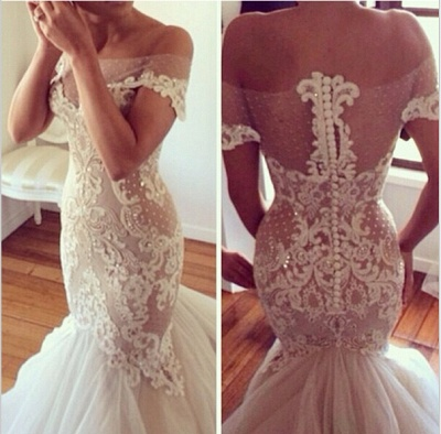 High quality New Wedding DressesReal Sample Hot sale Fashion strapless Tulle Lace Appliques Mermaid Wedding Dresses_3