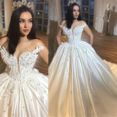 Luxury Off The Shoulder Royal Wedding Dresses Sexy | Beads Appliques Puffy Satin Wedding Dress_3