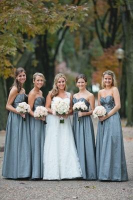 Chic Sweetheart Sleeveless Blue Long Bridesmaid Dresses_2
