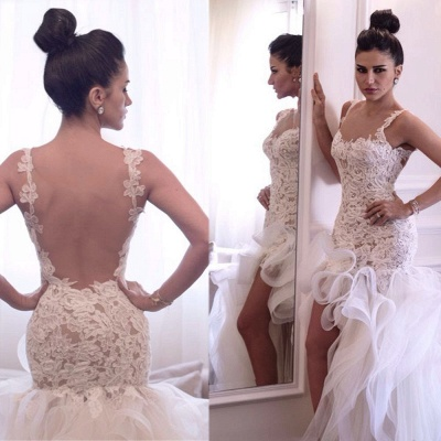 Attactive Lace Top Sheer Back Bridal Gowns Organza Sexy Short Front Long Back Wedding Dress_3