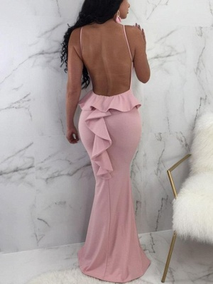 Sexy Pink Spaghetti Strap Bodycon Evening Dress | Cheap Evening Gown_3