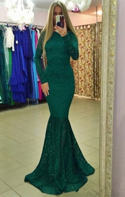 Modern Lace Backless Long Sleeve Mermaid Evening Gown_1