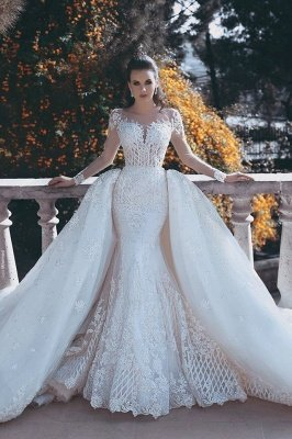 Long Sleeve Wedding Dresses with Lace Appliques | Sheer Tulle Open Back Bridal Gowns with Cathedral Train_1