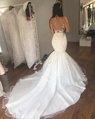 Sleeveless Lace Mermaid Gorgeous Long Buttons Wedding Dresses Cheap_3