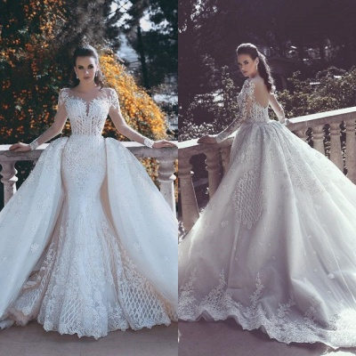 Long Sleeve Wedding Dresses with Lace Appliques | Sheer Tulle Open Back Bridal Gowns with Cathedral Train_4