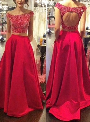 Modern Red Two Piece 2018 Prom Dress Off-the-shoulder Zipper SP0027