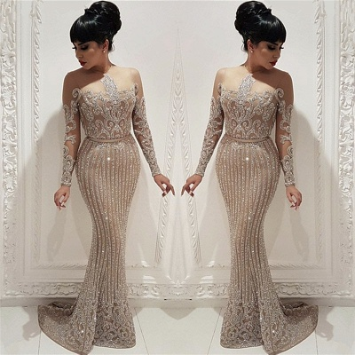 Sparkly Beads Sequins Long Formal Dresses     Mermaid Long Sleeve Nude Lining Prom Dresses BC0635_3