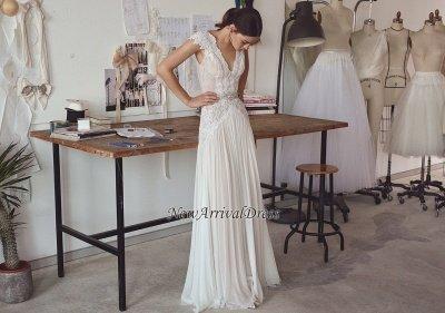 Chiffon Cap Sleeve Crystals Long Glamorous Wedding Dress Cheap_1