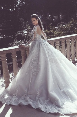 Long Sleeve Wedding Dresses with Lace Appliques | Sheer Tulle Open Back Bridal Gowns with Cathedral Train_3