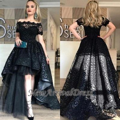 Black Short-Sleeve Lace Hi-Lo Sexy Prom Dress_1