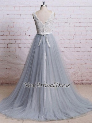 A-line Sweep-Train V-neck Tulle Lace Skirt Bodice Prom Dresses_5