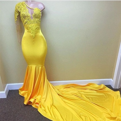 Lace Appliques Yellow Long Prom Dresses Cheap for Juniors | One Sleeve Evening Gowns BA7778_3
