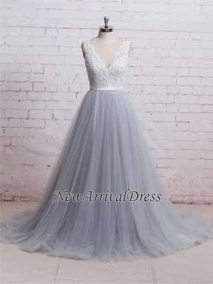 A-line Sweep-Train V-neck Tulle Lace Skirt Bodice Prom Dresses_3