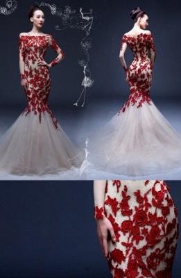 Long Sleeves Mermaid Red Rose Lace Appliques Bateau Neck Elegant Prom Dresses_1