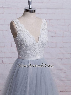 A-line Sweep-Train V-neck Tulle Lace Skirt Bodice Prom Dresses_4