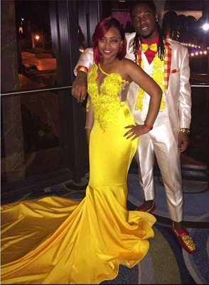 Lace Appliques Yellow Long Prom Dresses Cheap for Juniors | One Sleeve Evening Gowns BA7778_4