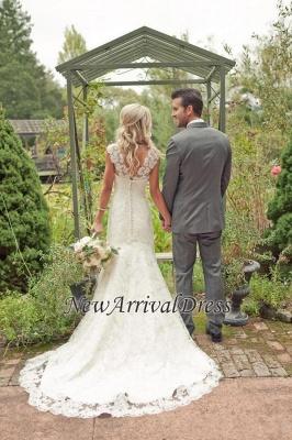 Mermaid Vintage Lace Appliques Straps Wedding Dresses Cheap with Court Train_1