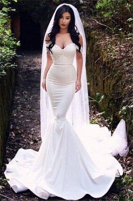 Sexy fuera del hombro vestidos de novia baratos | Vestidos de novia de tren de corte sirena 2021_1
