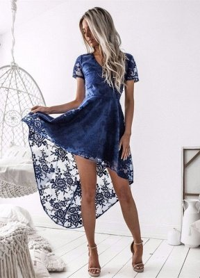 Delicate Lace Short Sleeve Homecoming Dress | Hi-Lo A-line Short Party Gown_1