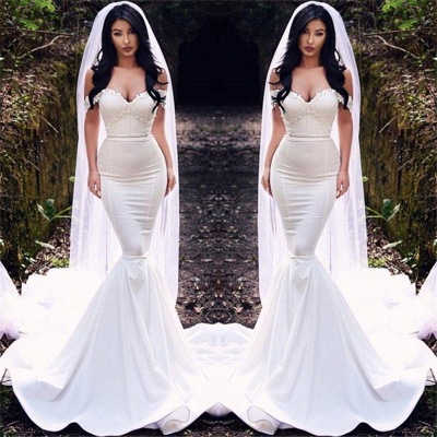 Sexy fuera del hombro vestidos de novia baratos | Vestidos de novia de tren de corte sirena 2021_3