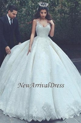 Cheap Online New Arrival Lace Latest V-neck Appliques Sexy Sleeveless Elegant Ball Gown Wedding Dresses_2