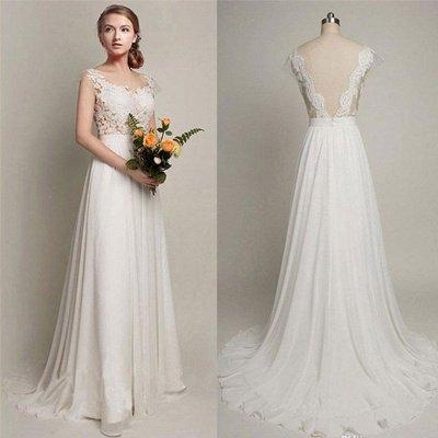 Elegant Sweep Train A-Line Bridal Gowns | Sleeveless Chiffon Wedding Dresses Cheap Online_3