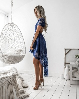 Delicate Lace Short Sleeve Homecoming Dress | Hi-Lo A-line Short Party Gown_4