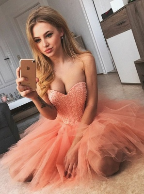 Chic Sexy Sleeveless Homecoming Dresses  Sweetheart Classic Cocktail Dresses_1