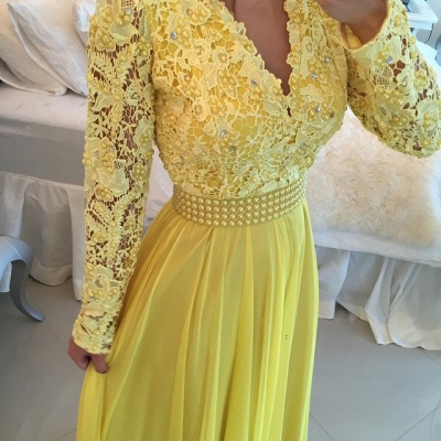 Long Sleeves Lace Pearls Chiffon Prom Dresses V Neck White&Blue Evening Gowns BT00_3