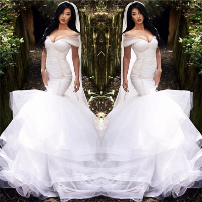 Mermaid Off The Shoulder Wedding Dresses 2021 | Tiered Tulle Sexy Beads Bride Dresses Cheap_3