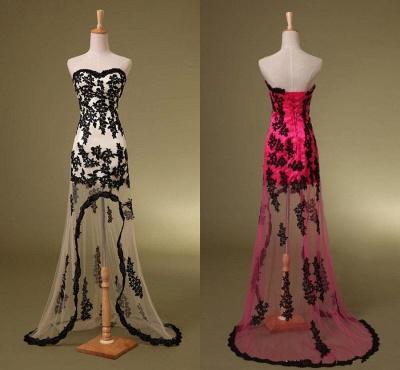 Delicate Sweetheart Sleeveless Hi-Lo Custom Made A-line Prom Dresses Cheap_3