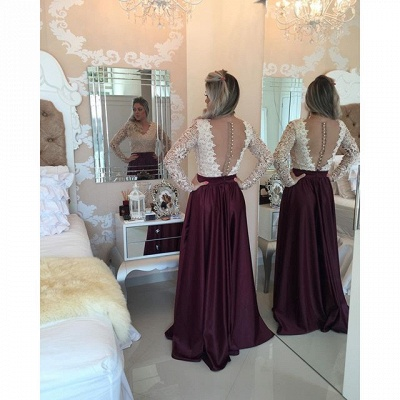 Burgundy Long Prom Dresses Lace Long Sleeves Pearls Sheer Backless Elegant A-line Evening Gowns_4