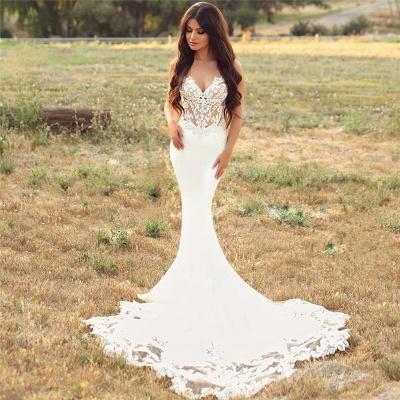 Sexy Spaghetti Strap Cheap Wedding Dresses |  Mermaid Chiffon Lace Bridal Gown Online_5