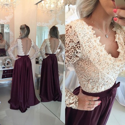 Burgundy Lace Long Prom Dresses